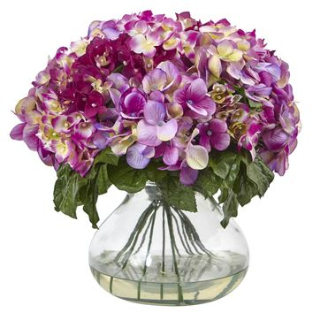 Artificial Flowers -Ruby Hydrangea With Large Vase Silk Flowers