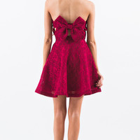 Nicolette Red Bow Back Strapless Dress