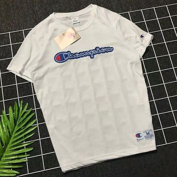Champion 18SS Couple Embroidered Chest Embroidered Logo Embroidered Short Sleeve F-AA-XDD white