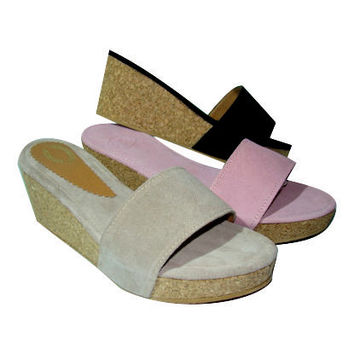Leather wedges, womens shoes, wedge shoes, women wedges, from Genuine Leather, Handmade 100%, 3 Colours, Stylish Mules,