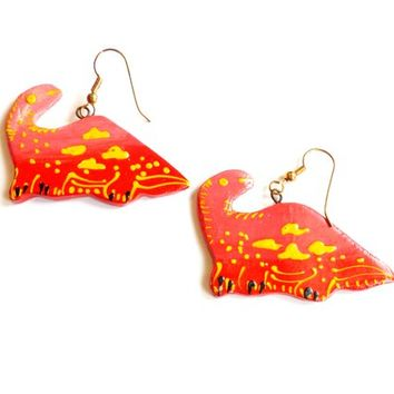 Vintage Red Dinosaur Earrings - Hand Painted - Thailand Painted Earrings - French Wire Pierced - Deadstock NWOT - Unique Wood Earrings