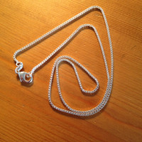 """Sterling Silver 925 Box Chain 18"""" With Lobster Claw Clasp"""