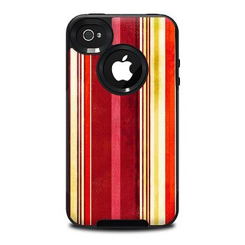 The Vintage Red & Yellow Grunge Striped Skin for the iPhone 4-4s OtterBox Commuter Case