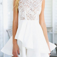 White Sheer Lace Crochet Tiered Skater Dress