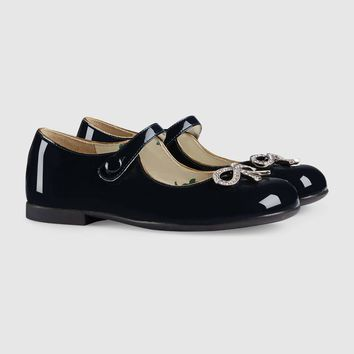 Gucci Children's patent ballet flat with bow