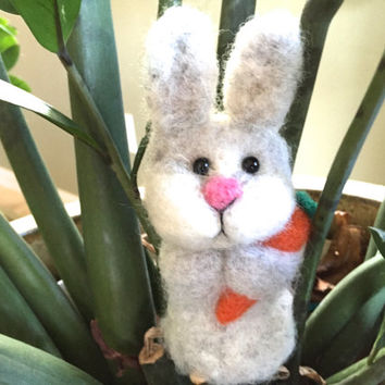 Bunny rabbit easter bunny hare spring gift idea needle felted bunny needle felted animal needle felt bunny felt hare felt rabbit fiber art
