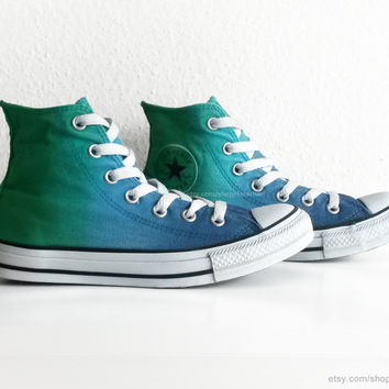 Bright green & blue ombre Converse All Stars, high tops, dip dye upcycled vintage sneakers, size eu 38 (UK 5.5, US wmns 7.5, US men's 5.5)