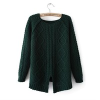 Magic Pieces Woman's Geometric Pattern Round Neck Sweater with Cut Out Detail 080844 Color Dark green