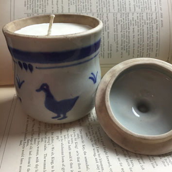 Easter Soy Candle - vintage pottery - farmhouse - duck sugar bowl - rabbit - travel candle - country chic decor - boho decor - home decor