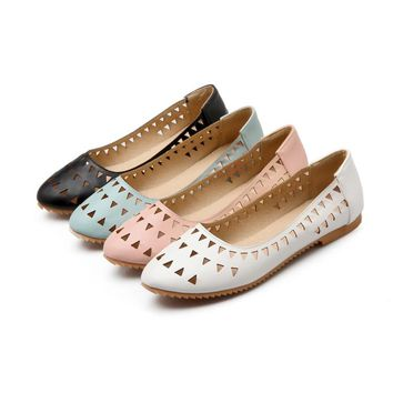 2017 Rushed Creepers Large Size 34-47 Women's Fashion Shoes Woman Flats Spring Female Ballet Metal Round Toe Solid Casual 8-15