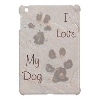 Dog Pawprints -I Love My Dog iPad Mini Case from Zazzle.com