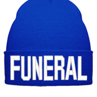 FUNERAL EMBROIDERY HAT - Beanie Cuffed Knit Cap