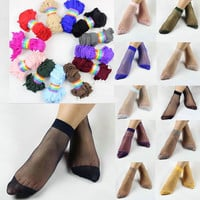 10pairs Fashion Ankle Socks Crystal Silk Ultra-thin Transparent
