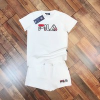 FILA Women Fashion Print Short sleeve Top Shorts Pants Sweatpants Set Two-Piece Sportswear