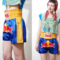 Vintage 90s THAI Kickboxing SHORTS Silky Satin Patch HIGHWAISTED Boxing / Sports 1990s vtg xs