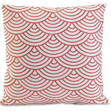 Coral Red Scallop Pillow
