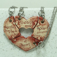 Friendship Heart pendants set of 4 pottery pieces Maroon Always together quote Ready To Ship