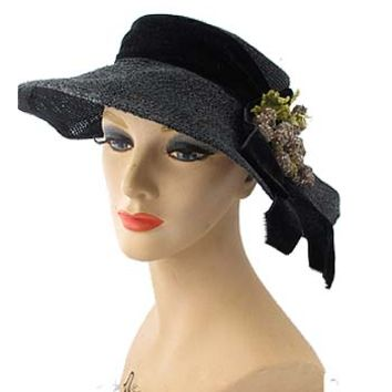 1950s Schiaparelli Black Wide Brim Grape Cluster Straw Hat-Vintage Hats