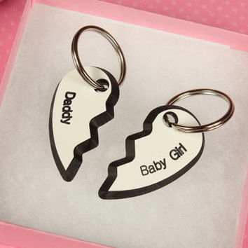 BDSM Keyring/ Keychain - Daddy and Baby Girl DDLG/ ABDL gift set. Heart shaped personalised keyrings