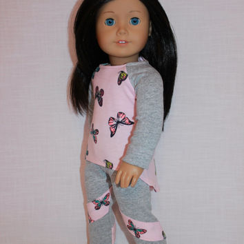 18 inch doll clothes, high low long sleeve shirt with butterfly print, grey leggings with stripes, Upbeat petites