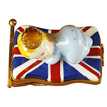 BRITISH FLAG WITH PRINCE GEORGE BABY LIMOGES BOXES