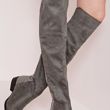 Missguided - Elastic Back Over The Knee Boots Charcoal