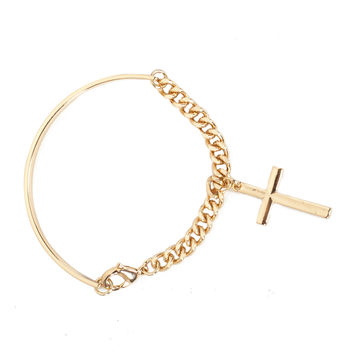 Bar Chain Cross Bracelet