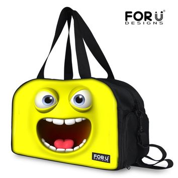 FORUDESIGNS 2018 Cute Emoji Pattern Women Travel Duffle Expression Bag Candy Color Luggage Totes Large Weekend Female Travel Bag