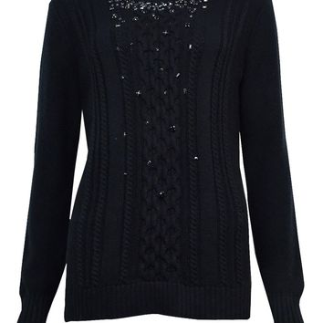 Grace Elements Women's Embellished Cable Hi-Lo Sweater