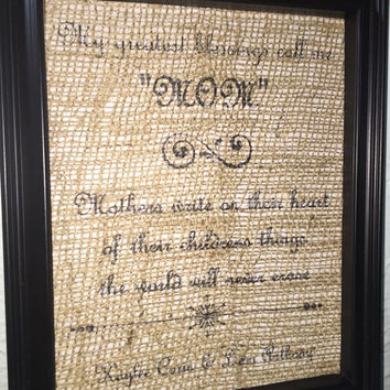Mother's Day gift, mother, burlap print, printing, picture frame, burlap, grandmother, kids names, canvas print, ink jet print, white burlap