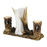 Antler Salt & Pepper Shaker w/ Napkin Holder Set