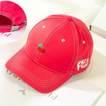 Cherry Embroidered Baseball Cap Hat