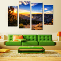 4 Pcs/Set Print Oil Painting(No Frame) Mountain Sunrise Wall Pictures For Living Room Canvas Vintage Home Decor Modular Pictures