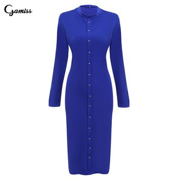 Gamiss Stylish Round Collar Long Sleeve Knitted Double Breasted Button Sheath Pure Color Dress for Ladies