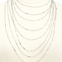 Stamped & Layered Chain Necklace by Charlotte Russe - Silver