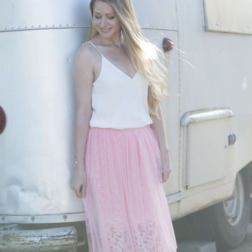 Lace and Tulle Midi Skirt