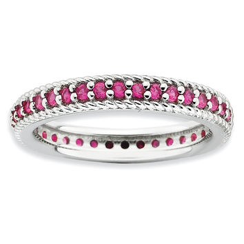 Sterling Silver Stackable Expressions Polished Created Ruby Eternity Ring