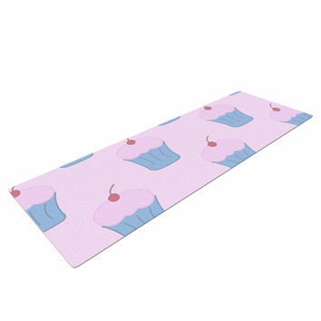 "NL Designs ""Pink Cupcakes"" Blue Blush Yoga Mat"