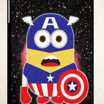 avenger minion captain america X1004 iPad 2 3 4, iPad Mini 1 2 3, iPad Air 1 2 , Galaxy Tab 1 2 3, Galaxy Note 8.0 Cases