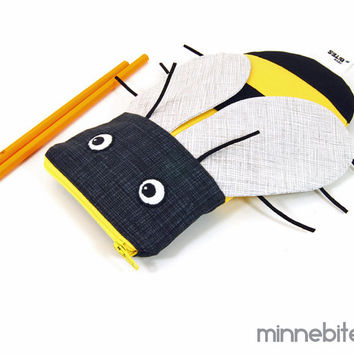 Bumble Bee Bag by MinneBites / Handmade Kids Pencil Kit - Yellow Black Bug - Party Favor - Toddler Toy Bag - Sunglass Case - Ready to Ship