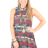 Maroon and Taupe Aztec Print Swing Dress