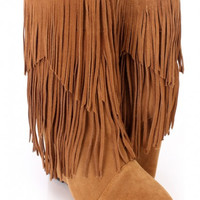 Fringe Wedge Boots Brown