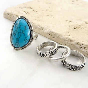 Stacy Etched Marble Ring Set
