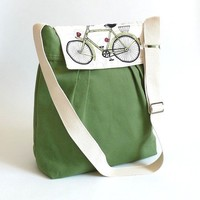 NEW LA POMME Large  Green French with bicycle by ikabags on Etsy