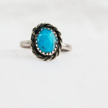 Vintage Turquoise Ring Southwestern Faceted