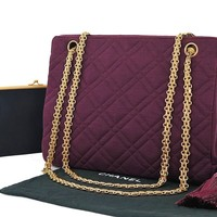 Authentic CHANEL Purple Quilted Nylon Gold Chain Shoulder Bag Purse #26236