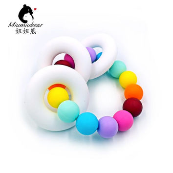 Natural Baby Toy Silicone Teething Ring Toy in Rainbow Chewable Teether Silicone Toy Teething Baby Shower Gift
