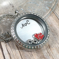 Personalized Couples Necklace, Floating Locket, Newlywed Gifts, Wife Anniversary, Wedding Necklace, Girlfiend Jewelry, Valentine's Day Gifts
