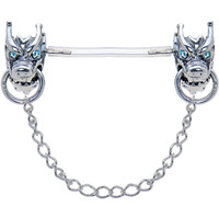 Invisible Bioplast Aqua Gem Sterling Silver Demon Nipple Shield | Body Candy Body Jewelry