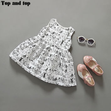 Brand New Summer Dress For Girls Clothes 2016 Fashion Sleeveless Girl Dress Casual Cotton Baby Girl Dress aa